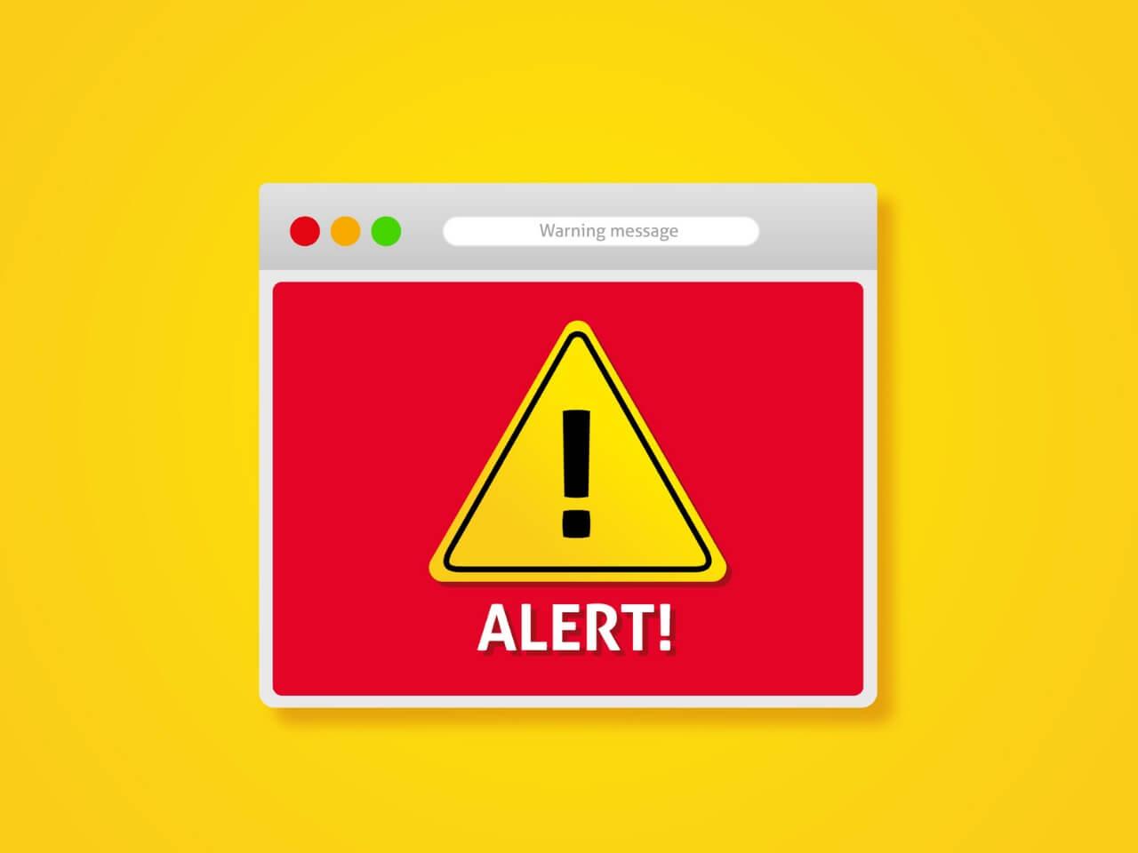 警告を表示するパソコン画面