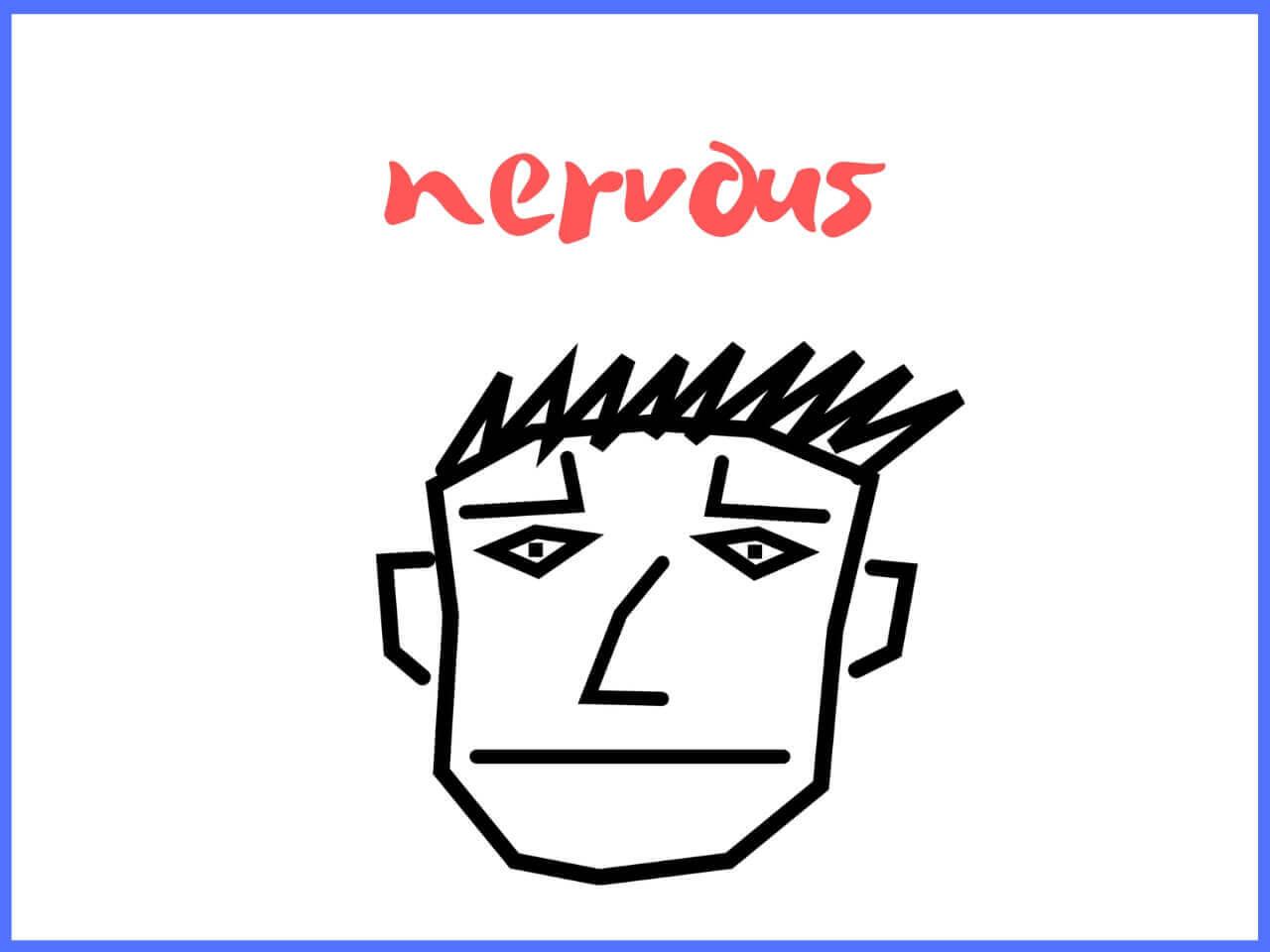 ナーバスな人の顔のイラスト