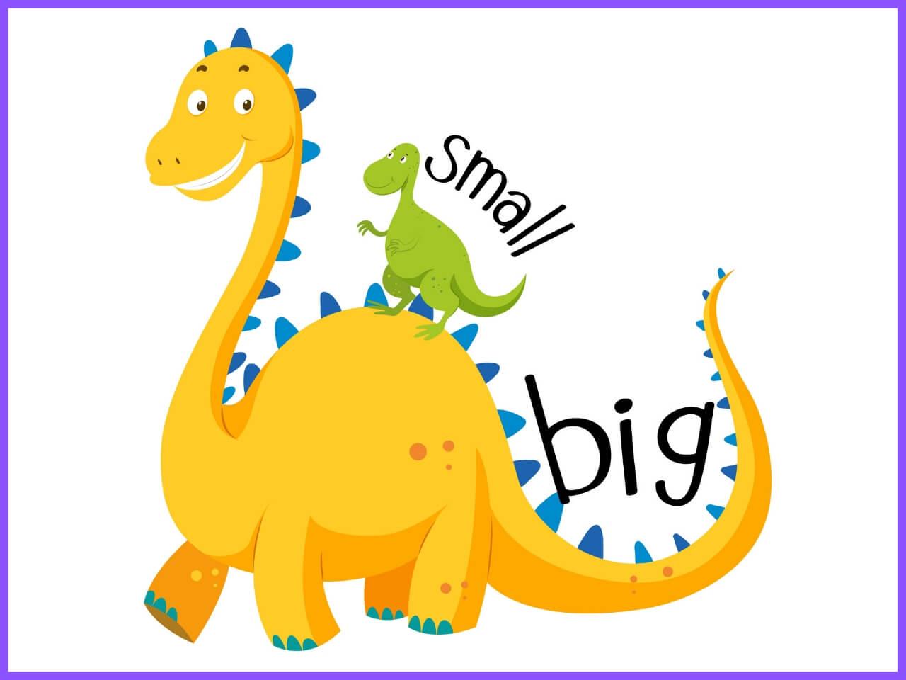 大きな恐竜と小さな恐竜のイラスト