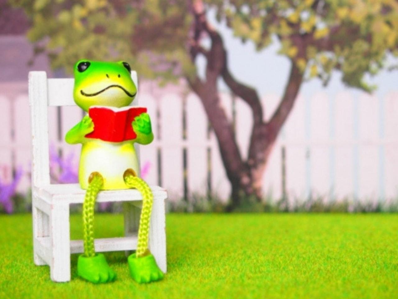 庭で読書するカエルの人形