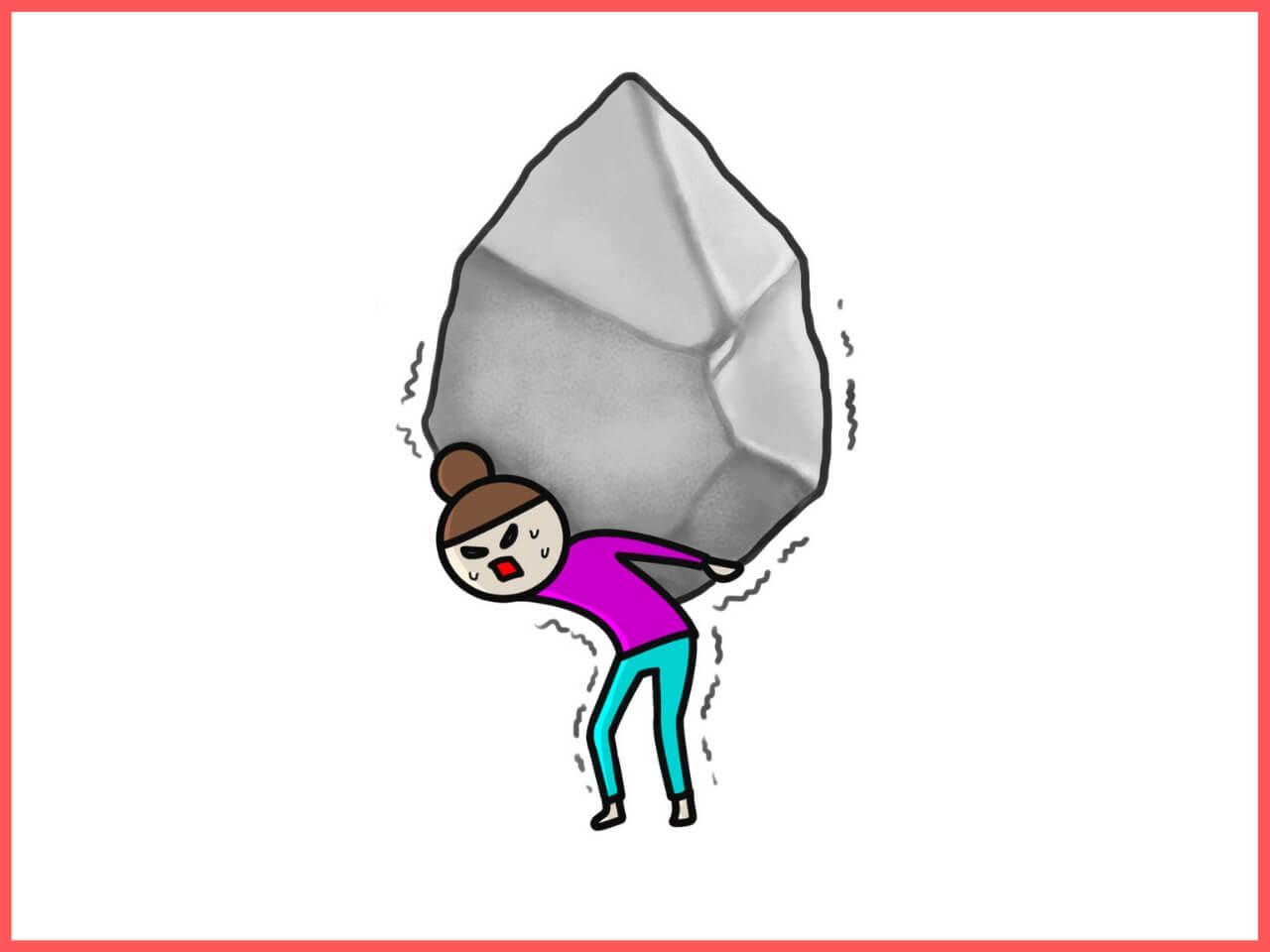 大きな石を背負って身動きがとれない女性