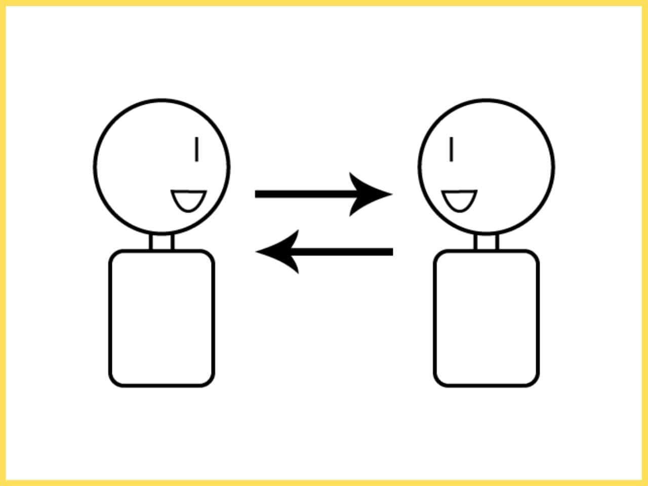 対等な立場で円滑に会話する二人