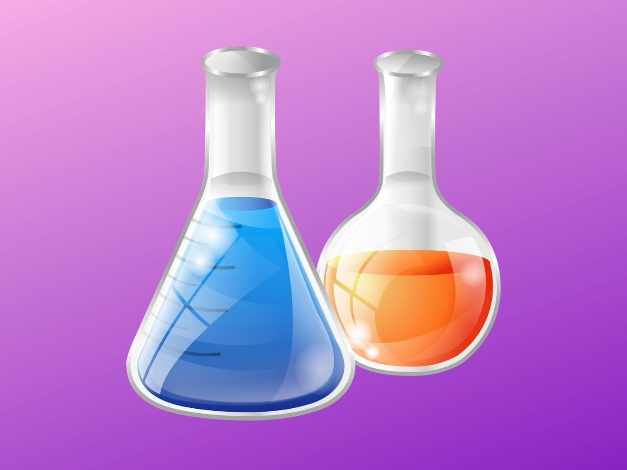 2種類のフラスコに入った薬液
