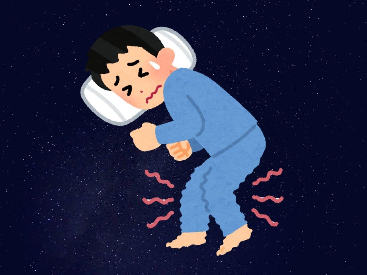 むずむず脚症候群で不眠症の男性