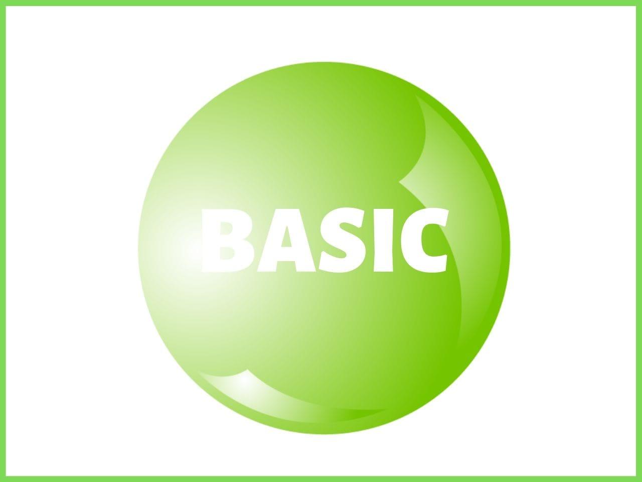 緑の円に書かれたBASICの文字