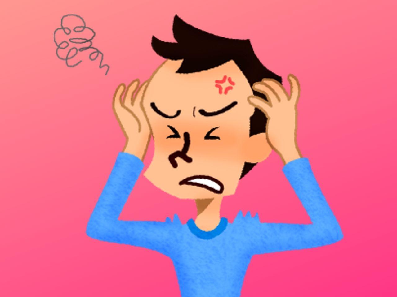 音嫌悪症でイライラしている男性
