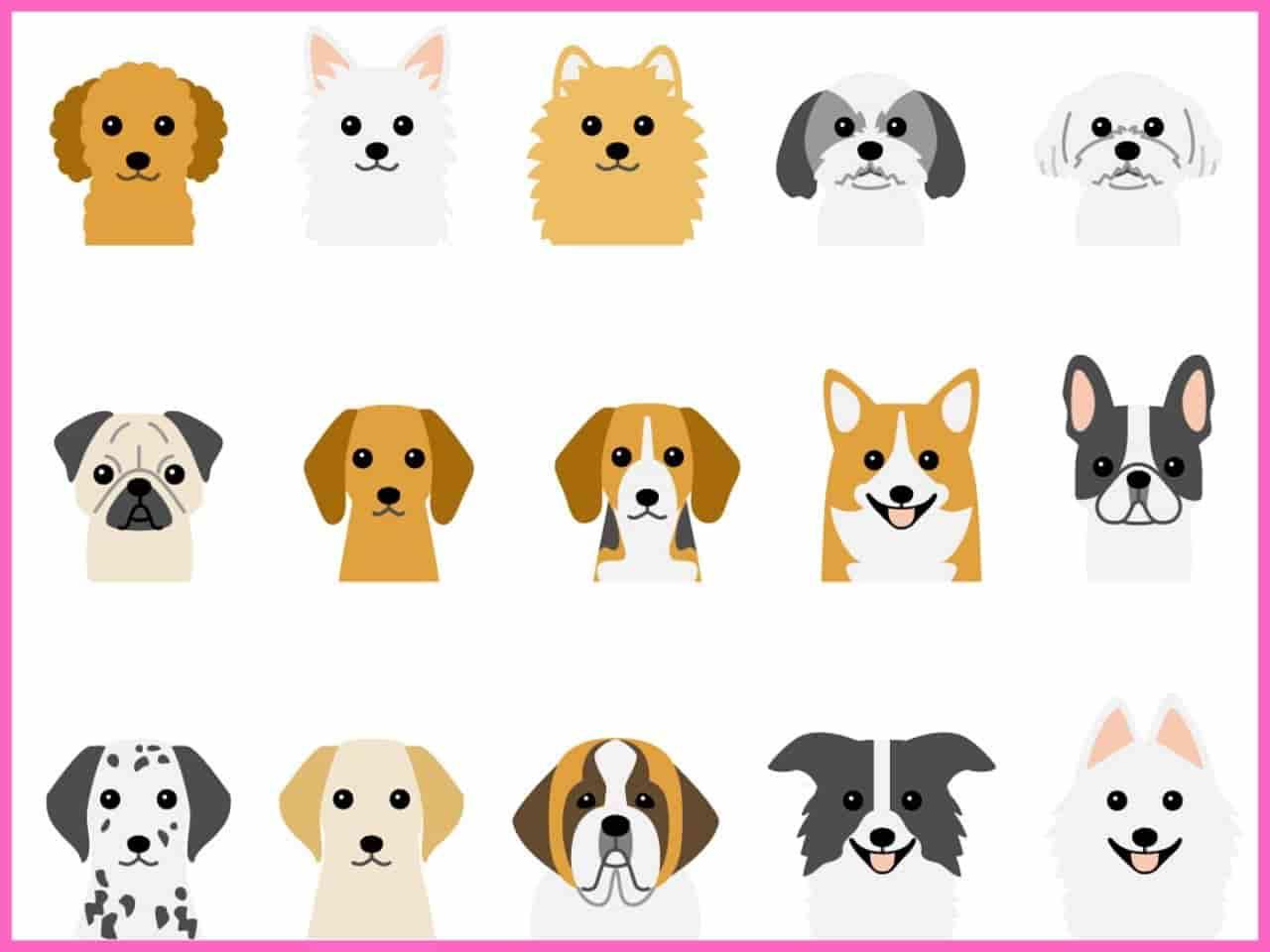 多種多様な犬の顔のイラスト