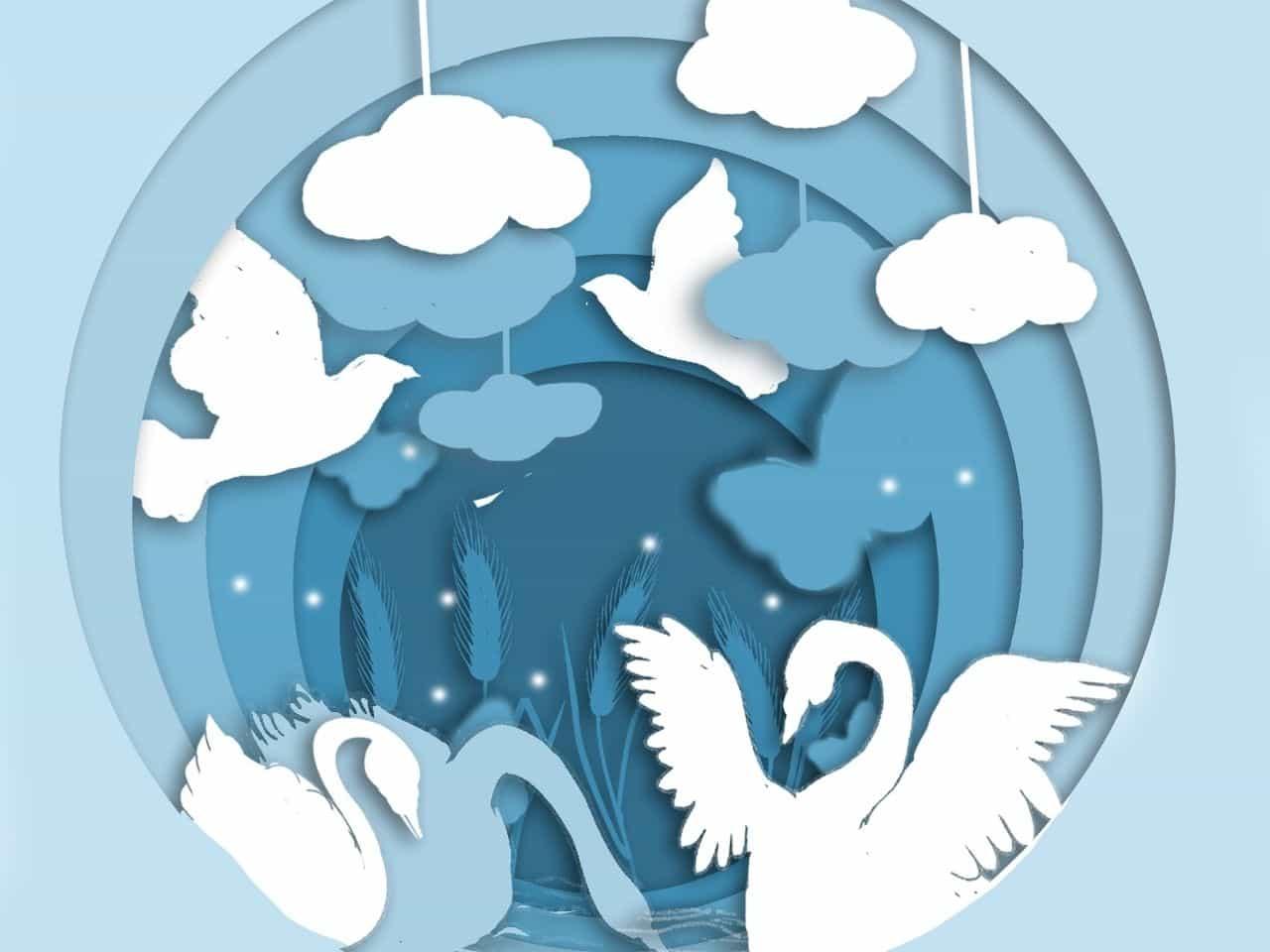 雲と白鳥のイラスト