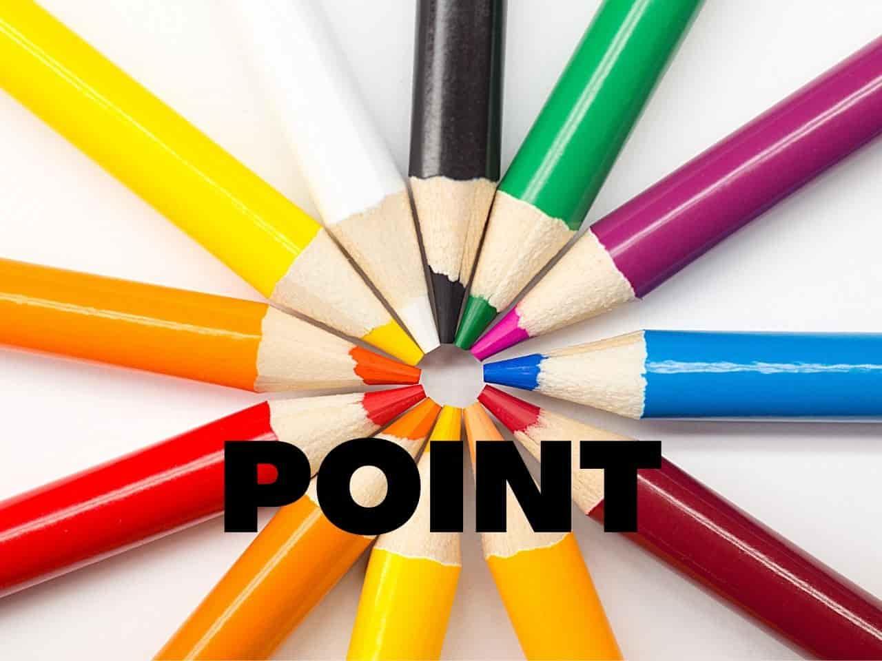 ポイントを示す色鉛筆