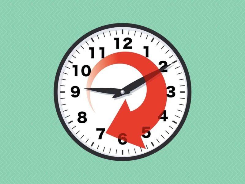 8時間後を示す時計