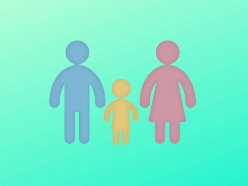 両親と一人っ子のピクトグラム