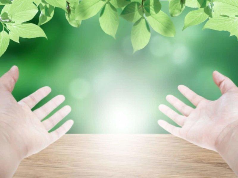 光に手を差し出す優しい手