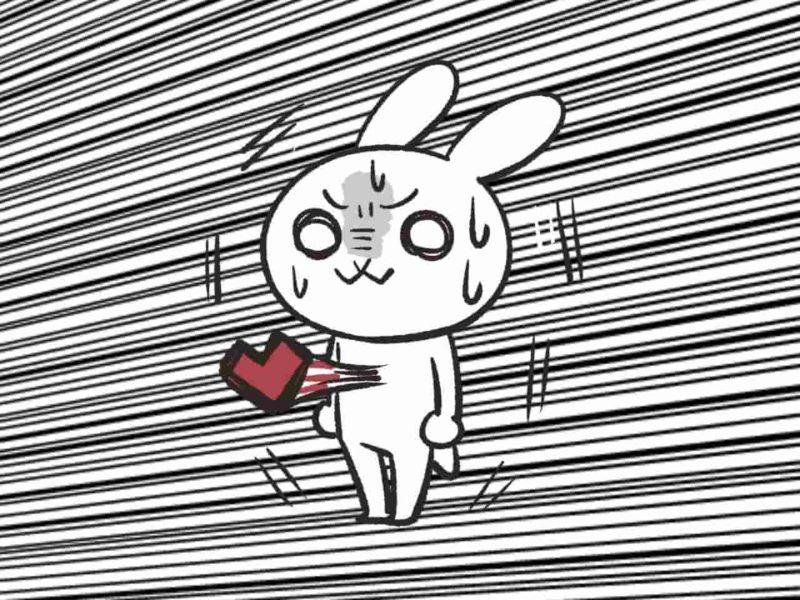 心臓がドキドキしているウサギ